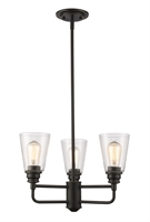 Picture for category Chandeliers 3 Light With Olde Bronze Finish Steel Medium Base Bulb 19 inch 300 Watts