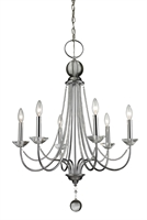 Picture for category Chandeliers 6 Light With Chrome Finish Steel Candelabra Base Bulb 26 inch 360 Watts