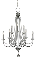 Picture for category Chandeliers 9 Light With Chrome Finish Steel Candelabra Base Bulb 29 inch 540 Watts