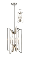Picture for category Pendants 4 Light With Brushed Nickel Finish Steel Candelabra Base Bulb 12 inch 240 Watts