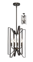 Picture for category Pendants 4 Light With Bronze Finish Steel Candelabra Base Bulb 12 inch 240 Watts