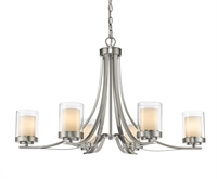 Picture for category Chandeliers 6 Light With Brushed Nickel Finish Steel Medium Base Bulb 35 inch 600 Watts