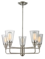 Picture for category Chandeliers 5 Light With Brushed Nickel Finish Steel Medium Base Bulb 25 inch 500 Watts