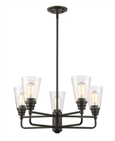 Picture for category Chandeliers 5 Light With Olde Bronze Finish Steel Medium Base Bulb 25 inch 500 Watts