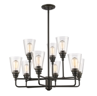 Picture for category Chandeliers 9 Light With Olde Bronze Finish Steel Medium Base Bulb 29 inch 900 Watts