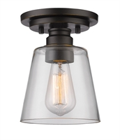 Picture for category Flush Mounts 1 Light With Olde Bronze Finish Steel Medium Base Bulb 7 inch 100 Watts