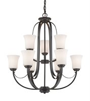 Picture for category Chandeliers 9 Light With Bronze Finish Steel Medium Base Bulb 29 inch 540 Watts