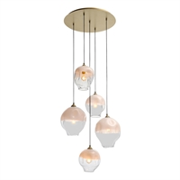 Picture for category Avenue Lighting HF8145-BB-WH Pendants Brushed Brass Iron/Aluminum/Glass Sonoma Ae