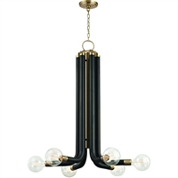 Picture for category Hudson Valley Lighting 6046-AGB Chandeliers Black with Aged Brass Iron Desmond