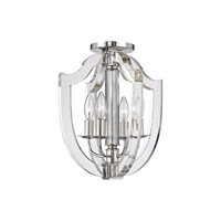 Picture for category Semi Flush 4 Light With Polished Nickel Finish Candelabra Bulbs 13 inch 240 Watts