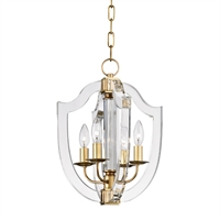 Picture for category Pendants 4 Light With Aged Brass Finish Candelabra Base Bulbs 13 inch 240 Watts
