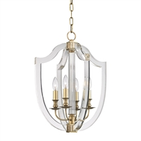 Picture for category Pendants 4 Light With Aged Brass Finish Candelabra Base Bulbs 17 inch 240 Watts