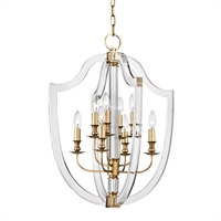 Picture for category Pendants 8 Light With Aged Brass Finish Candelabra Base Bulbs 21 inch 480 Watts