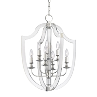 Picture for category Pendants 8 Light With Polished Nickel Finish Candelabra Bulbs 21 inch 480 Watts