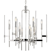 Picture for category Chandeliers 12 Light With Polished Nickel Finish Candelabra Bulbs 27 inch 480 Watts