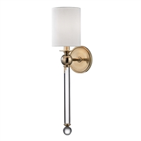 "Picture for category Aged Brass Tone Finish Wall Sconces 5"" Wide Candelabra Type of Bulb 1 Light Fixture"