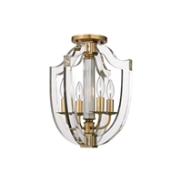 Picture for category Semi Flush 4 Light With Aged Brass Finish Candelabra Base Bulbs 13 inch 240 Watts