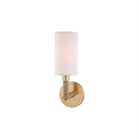 Picture for category Wall Sconces 1 Light With Aged Brass Finish Metal and Linen E12 5 inch 40 Watts