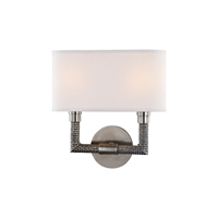 Picture for category Wall Sconces 2 Light With Historic Nickel Finish E12 Bulb Type 12 inch 80 Watts