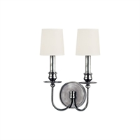 Picture for category Wall Sconces 2 Light With Polished Nickel Tone Finish Candelabra Base Bulbs 10 inch 0 Watt