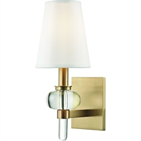 Picture for category Wall Sconces 1 Light With Aged Brass Metal Crystal 100% Silk E12 6 inch 60 Watt