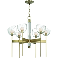 Picture for category Chandeliers 6 Light With Aged Brass Finish Metal Crystal Glass LED 25 inch 18 Watts