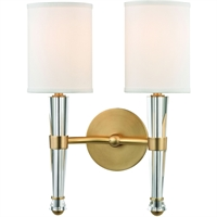 "Picture for category Aged Brass Tone Finish Wall Sconces 12"" Wide White Faux Silk Shade 2 Light Fixture"
