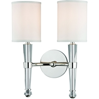 "Picture for category Polished Nickel Tone Finish Wall Sconces 12"" Wide White Faux Silk Shade 2 Light Fixture"
