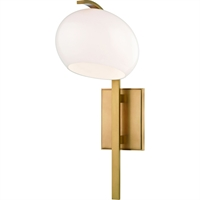 Picture for category Wall Sconces 1 Light With Aged Brass Finish Metal Glass G9 Bulbs 8 inch 50 Watts