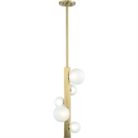 Picture for category Pendants 5 Light With Aged Brass Finish Metal Marble Glass LED 11 inch 15 Watts