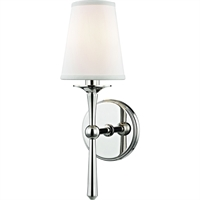 "Picture for category Polished Nickel Tone Finish Wall Sconces 5"" Wide White Faux Silk Shade 1 Light Fixture"