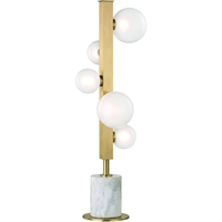 Picture for category Table Lamps 5 Light With Aged Brass Finish Metal Marble Glass LED 27 inch 15 Watts