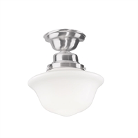 Picture for category Semi Flush Mounts 1 Light With Satin Nickel Finish A19 Bulb Type 10 inch 75 Watts