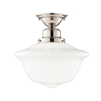 Picture for category Semi Flush 1 Light With Polished Nickel Finished A19 Bulb Type 12 inch 100 Watts