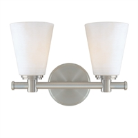 Picture for category Bathroom Vanity 2 Light With Satin Nickel Finish A19 Bulb Type 12 inch 200 Watts