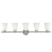 Picture for category Bathroom Vanity 5 Light With Satin Nickel Finish A19 Bulb Type 36 inch 500 Watts