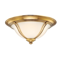 Picture for category Flush Mounts 1 Light With Flemish Brass Finished A19 Bulb Type 11 inch 60 Watts