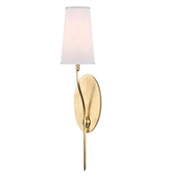 "Picture for category Aged Brass Tone Finish Wall Sconces 5"" Wide White Faux Silk Shade 1 Light Fixture"