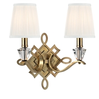 Picture for category Wall Sconces 2 Light With Aged Brass Finished Candelabra Bulbs 15 inch 120 Watts