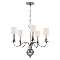 Picture for category Chandeliers 5 Light With Aged Silver Finished Candelabra Bulbs 22 inch 200 Watts