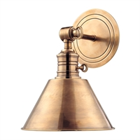 "Picture for category Aged Brass Tone in Finish Wall Sconces 8"" Wide A19 Type of Bulb 1 Light Fixture"