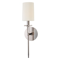 "Picture for category Polished Nickel Tone Finish Wall Sconces 5"" Wide Candelabra Bulb 1 Light Fixture"