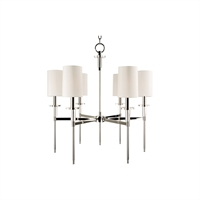 Picture for category Chandeliers 6 Light With Polished Nickel Finish Candelabra Bulbs 26 inch 360 Watts