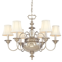 Picture for category Chandeliers 6 Light With Polished Nickel Finish Candelabra Bulbs 24 inch 360 Watts