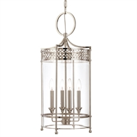 Picture for category Pendants 4 Light With Polished Nickel Finish Candelabra Bulbs 28 inch 240 Watts