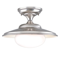 Picture for category Semi Flush Mounts 1 Light With Satin Nickel Finish A19 Bulb Type 9 inch 60 Watts