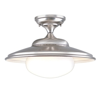 Picture for category Semi Flush Mounts 1 Light With Satin Nickel Finish A19 Bulb Type 11 inch 100 Watts