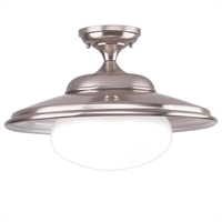Picture for category Semi Flush Mounts 1 Light With Satin Nickel Finish A19 Bulb Type 13 inch 100 Watts