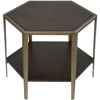 Picture for category Uttermost 25314 Tables Deep Walnut and Brushed Champagne MDF/Veneer/Metal Alicia