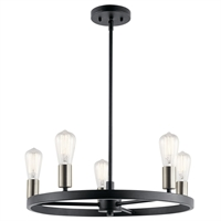 Picture for category Kichler Lighting 44195MBK Chandeliers Matte Black Steel Brooklyn